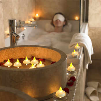 ASTRORA 24PCS Waterproof Floating LED Tealights Flameless Flickering Amber Yellow Candles Light For Wedding Party SPA