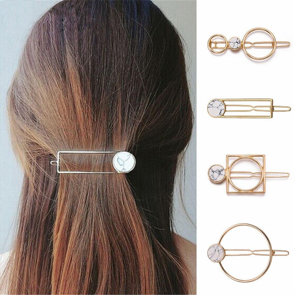 Fashion Women Girls Metal Circle Square Hair Clips Natural Stone Hairpins Barrettes Wedding Hair Clip Accessories Dropshipping