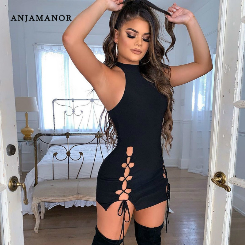 ANJAMANOR Sexy Night Club Dresses Summer 2020 Sleeveless Cut Out Lace Up Bandage Mini Dress Women Bodycon Vestidos D91-AA56