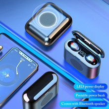 Hot V5.0 Tws Draadloze Hoofdtelefoon F9 Tws 2000 Mah Bluetooth Oortelefoon 9D Stereo Mini Speaker Met Mic Led Power Display power Bank(China)