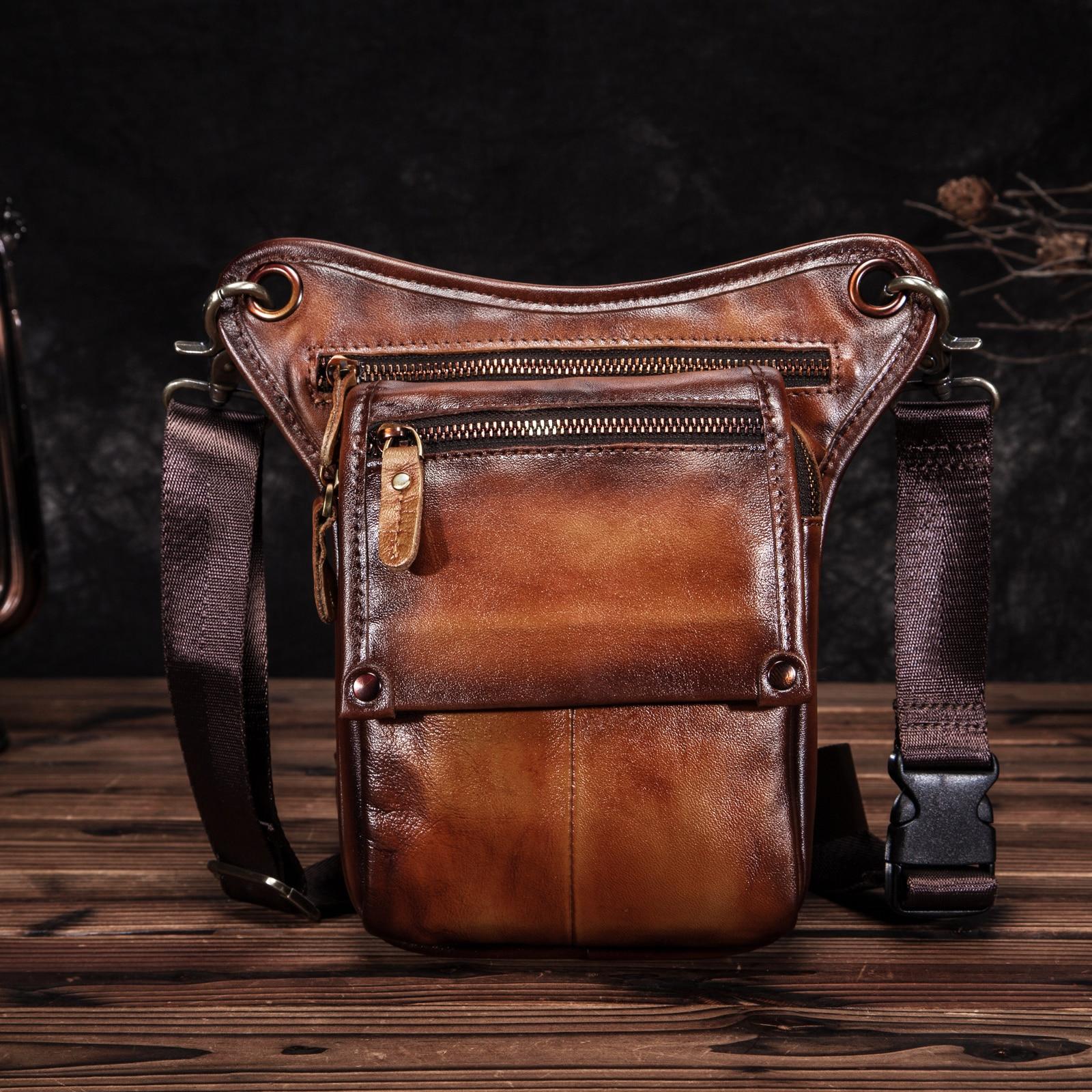 Quality Leather Men Design Casual Classic Messenger Sling Bag Fashion Travel Fanny Waist Belt Pack Leg Drop Bag 211-4CG