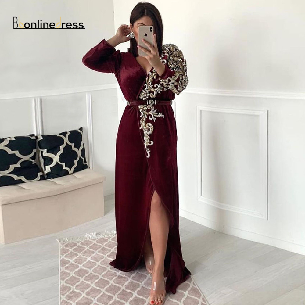 Burgundy Evening Dresses Lace Appliques Beaded Long Evening Dress Full Sleeves Split Floor Length Party Gown Vestido-de-festas