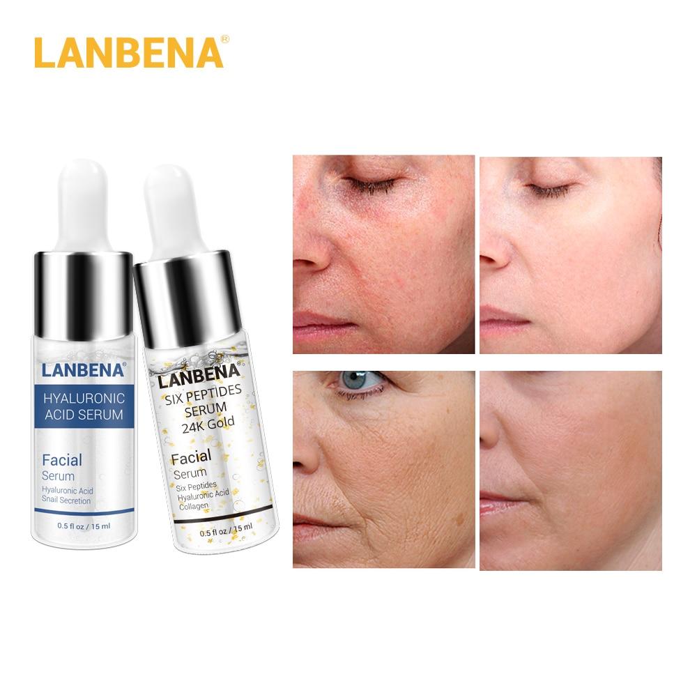 LANBENA Face Serum Hyaluronic Acid+Six Peptides Serum Anti Wrinkle Lift Firming Treatment Fine Lines Whitening Moisturizing 2pcs