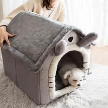 Gato quente caverna cama casa do cão outono inverno macio pelúcia pequenos cães gatos casa ninho bonito padrão gatinho filhote de cachorro canil abrigo