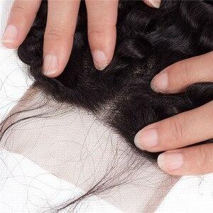 Image 5 - Fermeture frisée de dentelle de 4x4 de cheveux de Bling avec des cheveux de bébé fermeture brésilienne de cheveux de Remy couleur naturelle de partie libre/moyenne 8 22inch