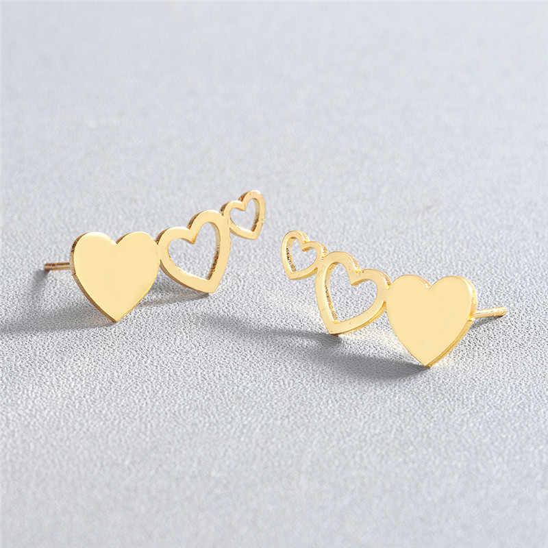 Kinitial In Acciaio Inox Amore Geometrica Orecchino Per Le Donne Femminile Oro Per Sempre Amore Cuori Orecchini con perno Regalo Del Partito Brincos