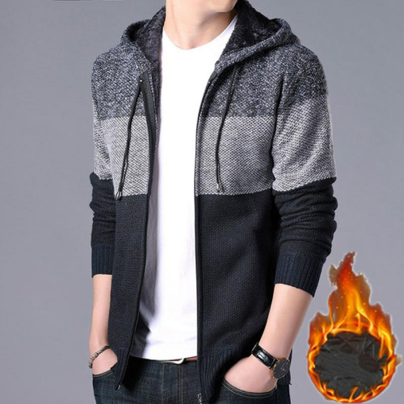 2020 Thick Cardigan Mens Sweater Zipper Striped Hooded Colorblocking Fashion Warm Slim Knitted Sweater Male Fleece Hoodies Coats 2