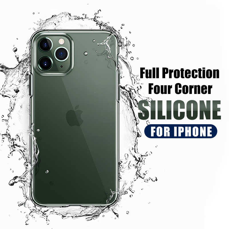 Luxury Shockproof Silicone Phone Case on For iPhone 11 Pro X XR XS MAX Transparent Protection Back Cover iphone 7 6 8 Plus Case