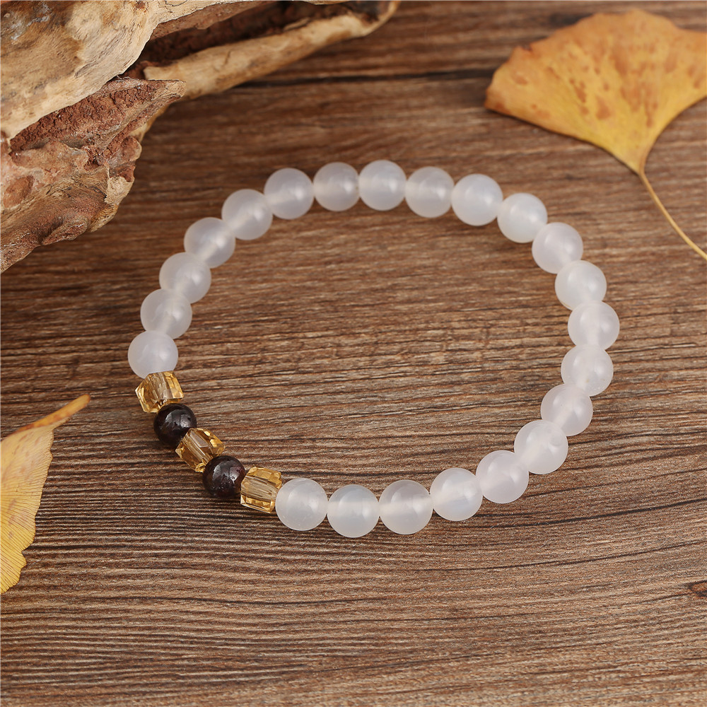 7mm Natural White Chalcedony Bracelets & Bangle For Women Jewelry Buddha Elastic Yoga Stone Bead Bracelet Drop Shipping 2