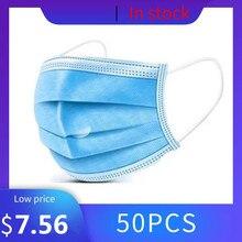 50 sztuk 3 warstwy maska jednorazowa przeciwkurzowe usta mufy maski na twarz mężczyźni kobiety Anti Fog oddychająca osłona twarzy maski na usta anti kurz