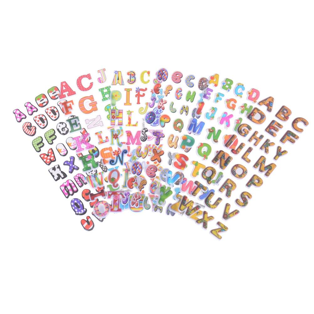 3D Cartoon 26 English Letters Kids Rooms Bubble Stickers School Study Scrapbook Puffy PVC Stickers 6pcs/lot