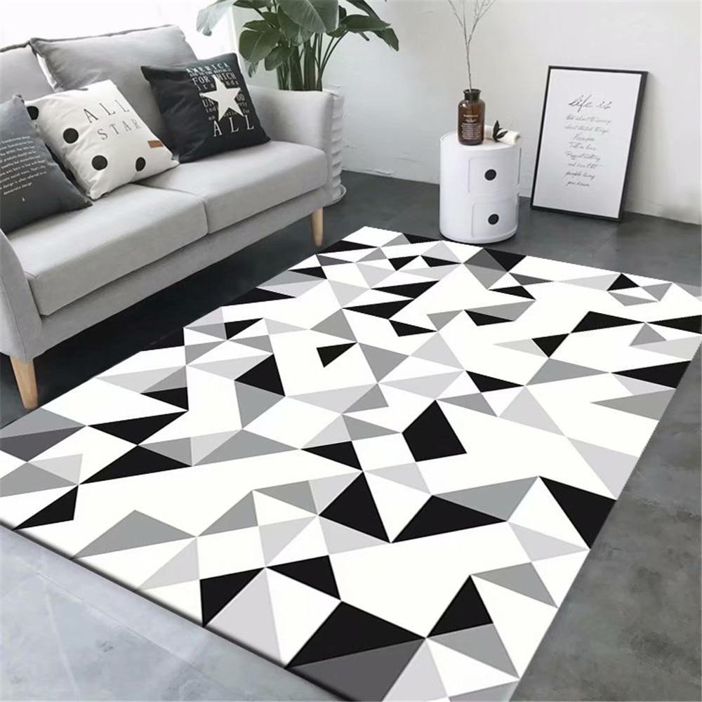 Modern Fashion Geometric Carpet Soft Flannel Bedroom Bedside Kitchen Mat Home Decor Black And White Large Living Room Area Rug