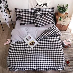 Черно-белый комплект постельного белья в клетку с геометрическим принтом, пододеяльник, простыня для взрослых и детей, наволочка, одеяло, Ко...
