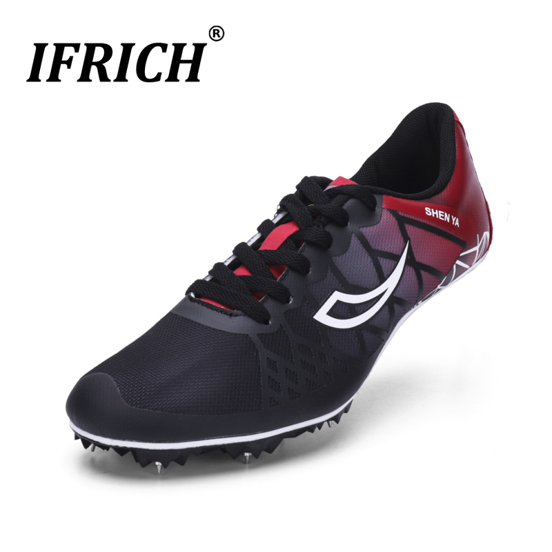 Women Sports Spiked Track Shoes Spikes Running Shoes Men Track and Field Cleats Sneakers Professional Training Breathable Sprint