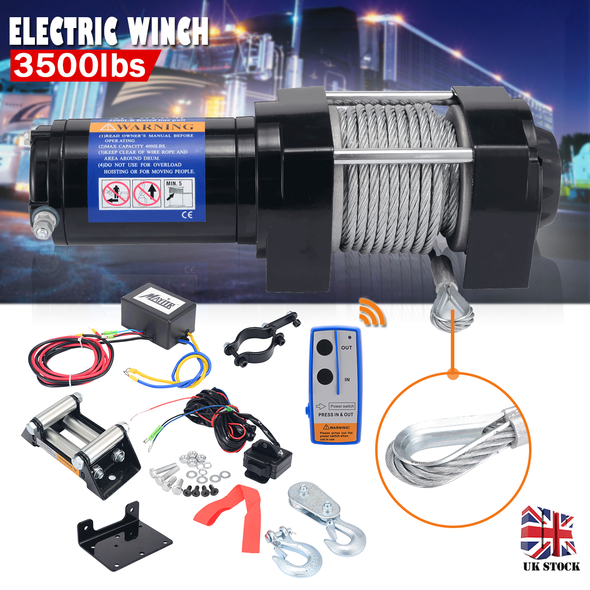 3500LBS Electric Recovery Winch Portable Electrical Winch 12V DC Boat Kit With Remove Control For ATVs And ATV Boat Trailer Tool