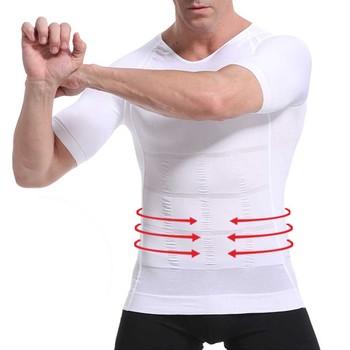 Męski wyszczuplający modelujący kamizelka postawy męski brzuch brzucha na korektor kompresji kulturystyki tłuszczu spalić pierś brzuch koszula gorset tanie i dobre opinie BodyChum shaper Shirt men Czopiarki Poliester spandex