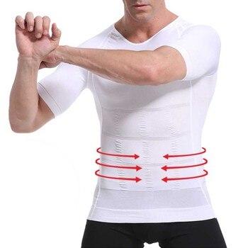 Men's Slimming Shaper Posture Corrector Compression T-Shirts  Tummy Control Body Building Fat Burnning Chest Corset
