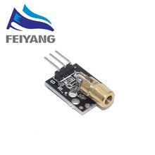 50 sztuk KY-008 650nm moduł czujnika laserowego 6mm 5V 5mW czerwony Laser Dot dioda miedziana głowica dla Arduino