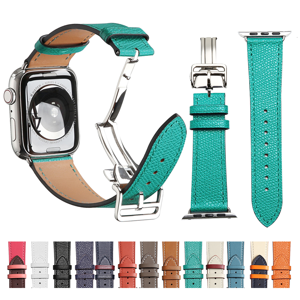 Cow Leather Strap For Apple Watch Band 44mm Series 5 Iwatch 4 3 2 1 Luxury Steel Buckle 42mm Loop 38mm Bracelet Replacement 40mm