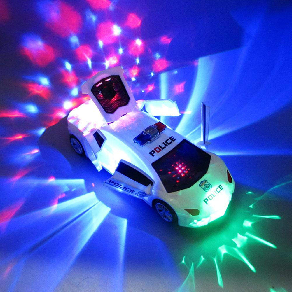 360 Degree Rotary Wheels Cool Lighting Music Kids Electronic Police Car Toy Electric Ride On Music Car With LED Lights