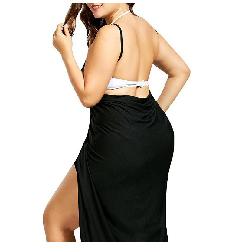 2019 European And American-Style Mosaic Solid Color Sexy Backless Beach Skirt Strap One Piece Skirt