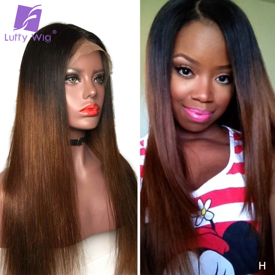 1B/#4 13x6 Lace Front Ombre Human Hair Wigs Straight Remy Brazilian Medium Ratio With Baby Hair PrePlucked For Women LUFFY