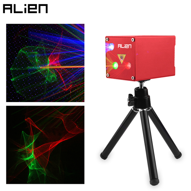 ALIEN Rechargeable Mini RGB Aurora Star Laser Projector Stage Lighting Effect Party Wedding DJ Disco Holiday Car Dance Lights