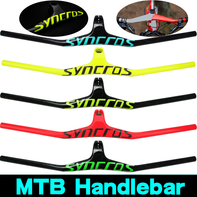 Syn Custom Champion MTB Bicycle Handlebar / Riser  17 degree One shaped Integrated Handlebar 3K Gloss or Matte Carbon Fiber Avi