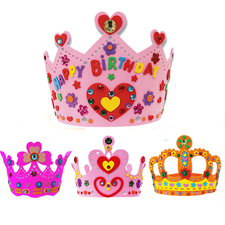 EVA Foam Sequins Crown Creative Flowers Stars Patterns Kindergarten Art DIY Girl Gift Craft Toys For Children Party Decorations