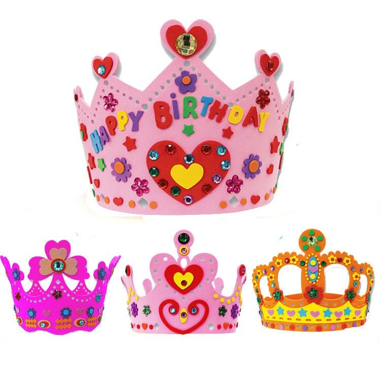 EVA Foam Sequins Crown Creative Flowers Stars Patterns Kindergarten Art DIY Girl Gift Craft Toys For Children Party Decorations