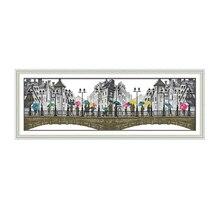 лучшая цена New the Scenery in the Rain Joy Sunday Cross Stitch Kits Needle Crafts Landscape Pattern 11 14CT Embroidery DIY Handmade Gift