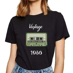Camisetas para mujeres vintage 1986 Vogue Vintage imprimir camiseta femenina