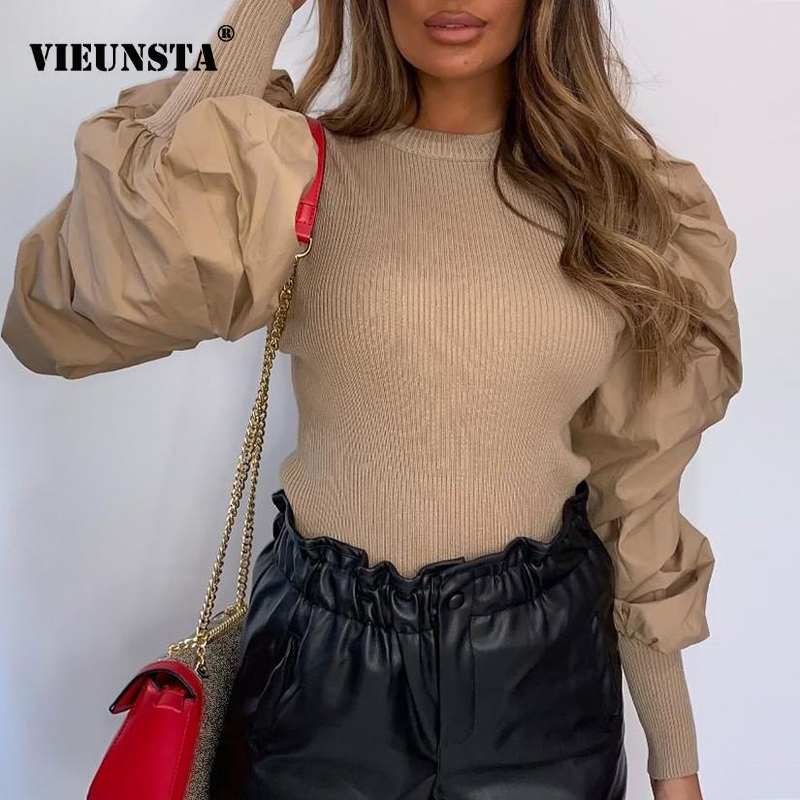 Autumn Puff Long Sleeve Ribbed Knitted Shirt Spring O Neck Women Slim Fit Blouse Fashion Solid Streetwear Tops Ladies Pullover