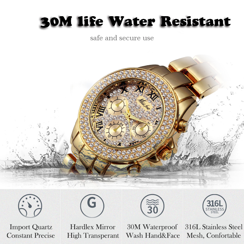 Image 4 - MISSFOX Womens Watches Waterproof Fake Chronograph Luxury Business Quartz Watch Casual Gold Roman Numerals Female WristwatchWomens Watches   -