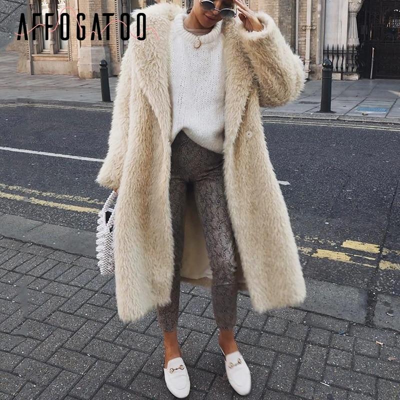 Affogatoo Fashion Streetwear Plus Size Warm Soft Faux Fur Coat Women Casual Autumn Winter Female Overcoat Loose Ladies Long Coat