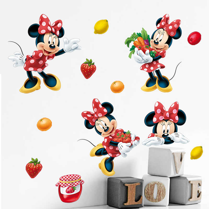 Cartoon Disney Minnie Mouse Strawberry Fruit Wall Stickers For Kids Room Home Decor Girl's Bedroom Wall PVC Mural Art Wallpaper