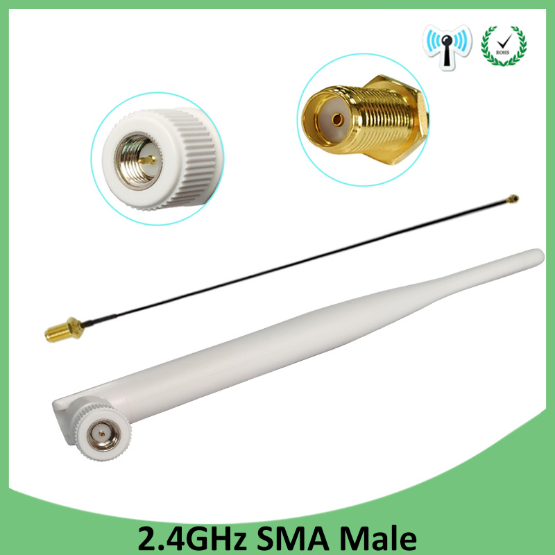 2.4Ghz Antenna Wifi 5dbi SMA Male Connector White 2.4 Ghz Antena Omni-Directional Router Antenna +21cm RP-SMA Male Pigtail Cable