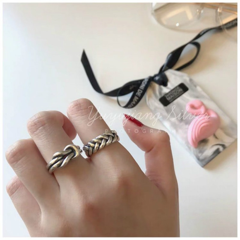 Купить с кэшбэком Vintage S925 Sterling Thai Silver 925 Original Braid Twine Luxury Open Ended Rings Freely Resizable Twist Weave sturdy Ring Knot