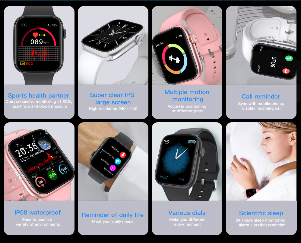 H796176548d344323b277ae148c1d1578K ECG Heart Rate Monitor Smart Watch 2020 Full Touch Screen SE03