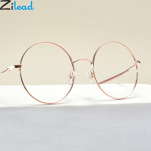 Zilead Round Anti Blue Light Reading Glasses Metal Women&Men Clear Lens Presbyopic Glasses Optical Spectacle With Diopter0to+4.0