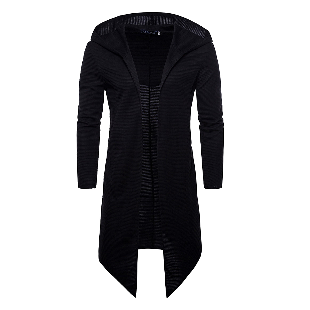 Men's Long Sleeve Draped Lightweight Open Front Longline Hooded Cardigan