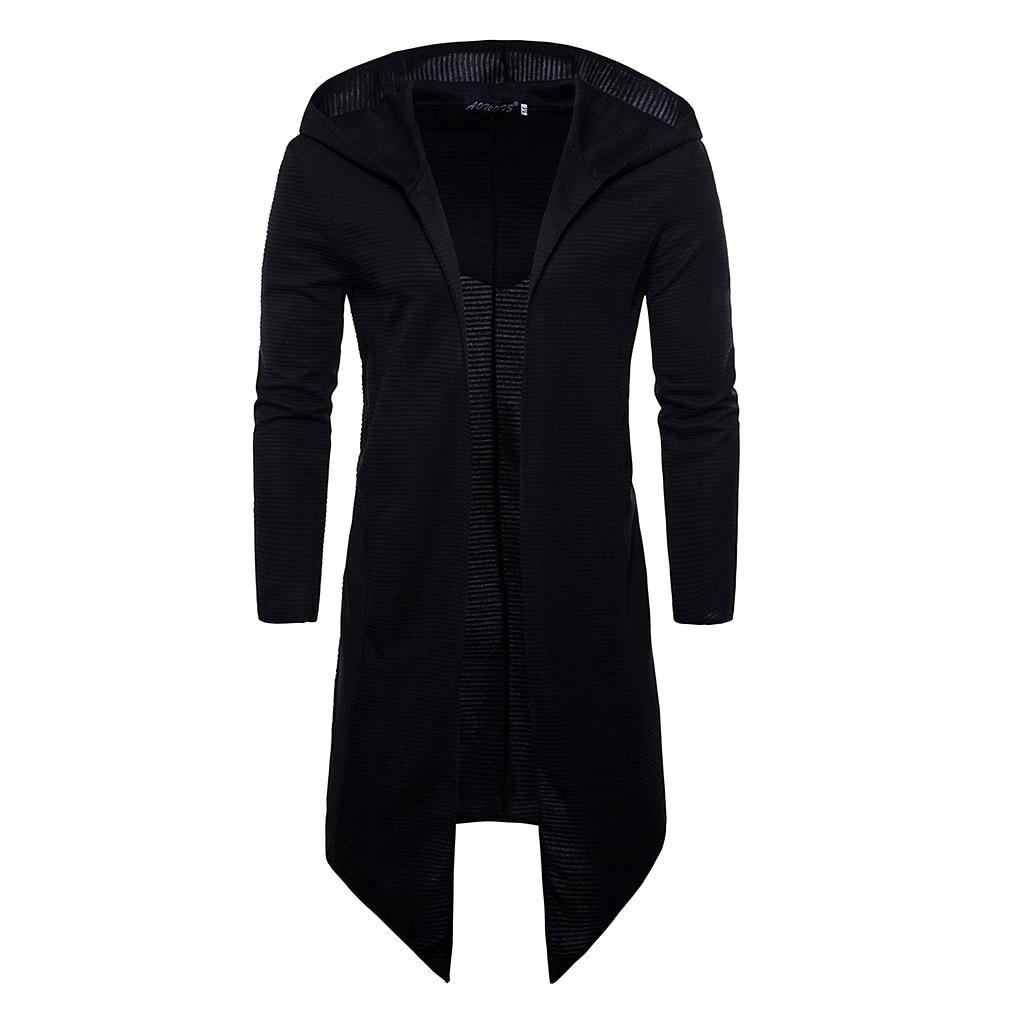 Men's Long Sleeve Draped Lightweight Open Front Longline Hooded Cardigan