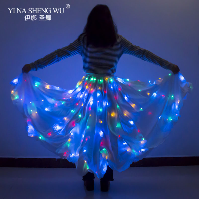 LED Luminous Tulle Skirt Dance Christmas Party Colorful LED Tutu Skirt Sexy White Multicolor Long Skirt Bellydance LED Skirt New
