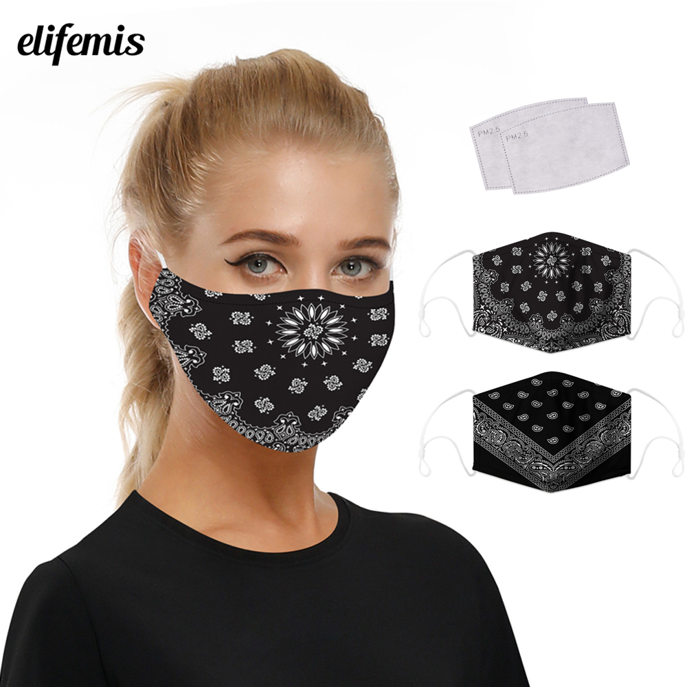 Paisley Floral Printed Mouth Mask Fabric Washable Mouth-Muffle Outdoor Reusable Protective Dust Face Mask For Women  Men