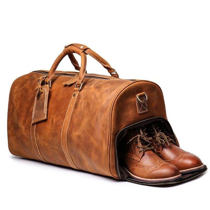 100% sac à main en cuir véritable sacs de voyage qualité hommes polochon bagages grande capacité avec bandoulière Crazy Horse Leahter sac - 4