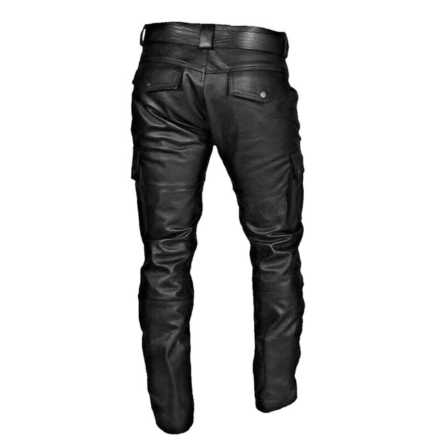 KANCOOLD Faux Leather Pants Punk Retro Pencil Casual men's pants Goth Mid Slim Broadcloth Full Length Pants Trousers D23 2