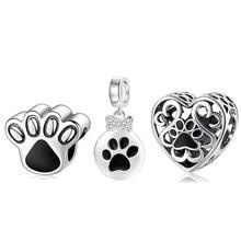 2021 otantik 925 ayar gümüş köpek hayvan ayak izi kedi kalp boncuk Charm Fit orijinal JIUHAO bilezik bilezik DIY takı
