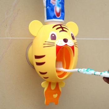 Dzieci automatyczny dozownik pasty do zębów mały tygrys dozownik Cartoon uchwyt do pasty do zębów ścienny wyciskacz do pasty do zębów tanie i dobre opinie Z tworzywa sztucznego Automatic Toothpaste Dispenser Na stanie Ekologiczne