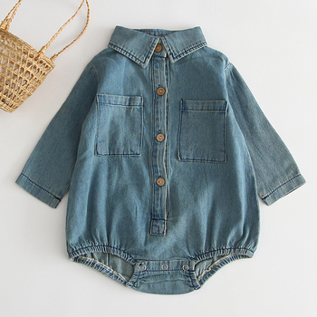 Baby Boy Girl Rompers Baby Girl Long Sleeve Turn-down Collar Rompers New 2020 Spring Autumn Fashion Baby Boy Girl Clothing
