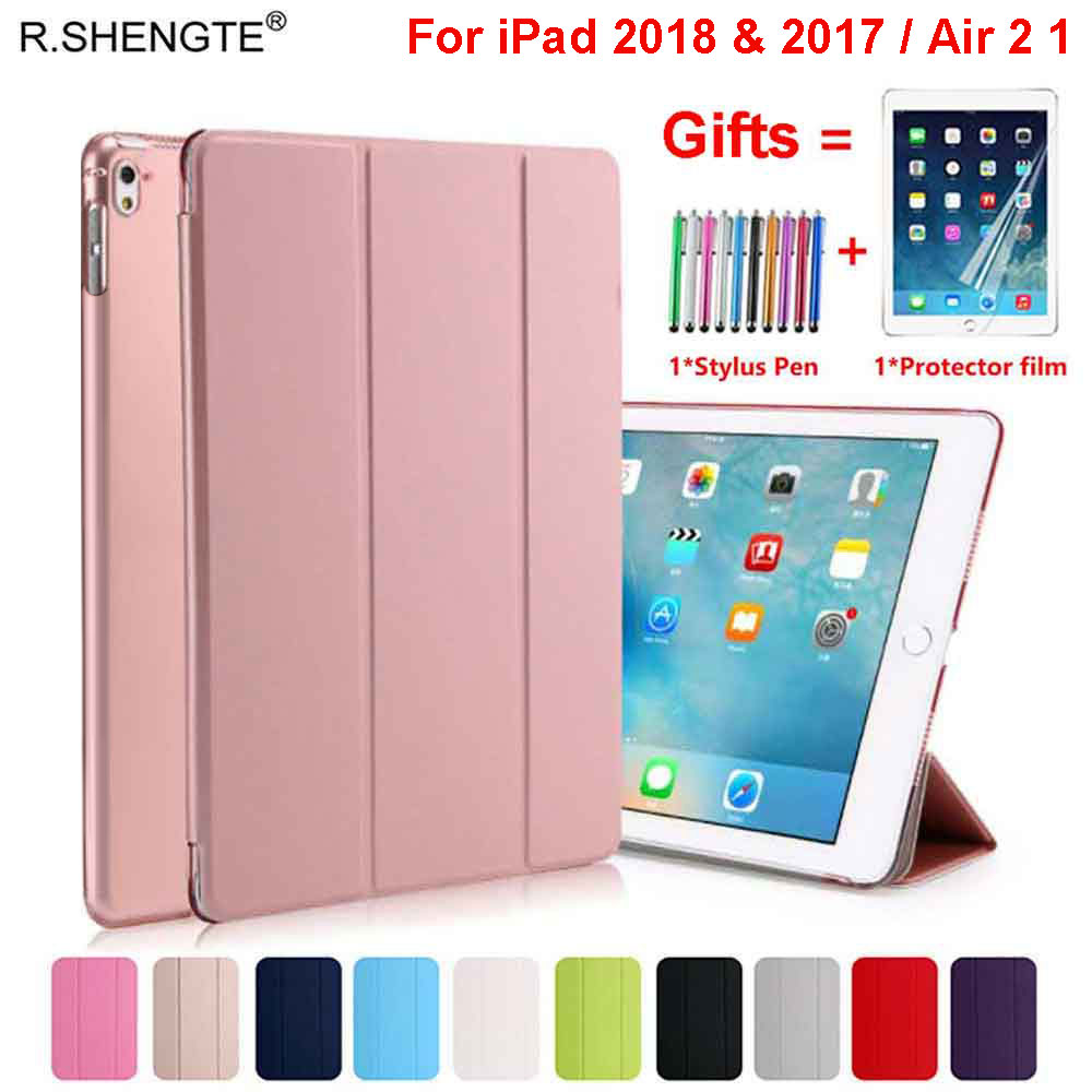 For IPad 9.7 2018 2017 Case Magnetic Pu Leather Stand Smart Cover For IPad 5 6 Air 1 2 5th 6th Generation With Stylus Pen+Film